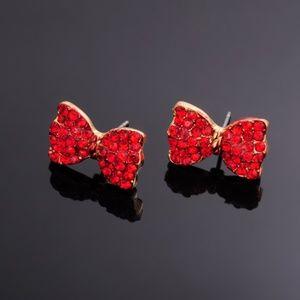 Jewelry - 3/$20! Red Rhinestone Bow Earrings